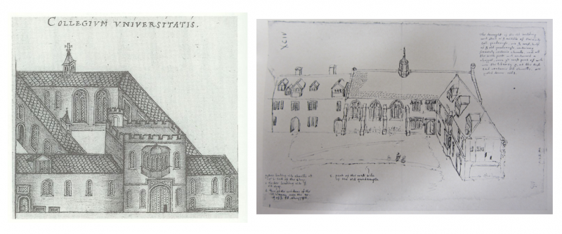 Drawings of University College by John Bereford (left) and Anthony Wood (right)